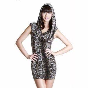 Shelly Hooded/Cowl Neck Dress EUC